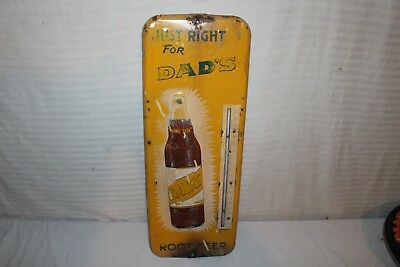 "Vintage 1950's Dad's Root Beer Soda Pop 26"" Embossed Metal Thermometer Sign"