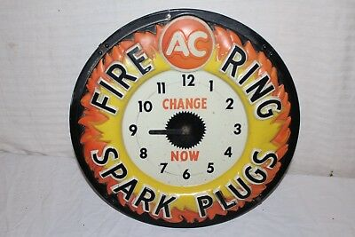 "Vintage 1960's AC Spark Plugs Chevrolet Gas Oil 17"" Embossed Lighted Clock Sign"