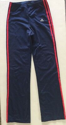 ADIDAS Yoga Stretch Training Pants Women's  Large Blue W/ Red Stripe FXK