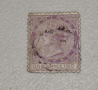 Stamp Pickers Dominica 1874 Queen Victoria 1/- Shilling Scott #3 FU $80+