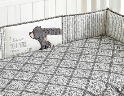 Levtex Baby Bailey Charcoal and White Arrow 4 Piece Crib Bumper New in Package