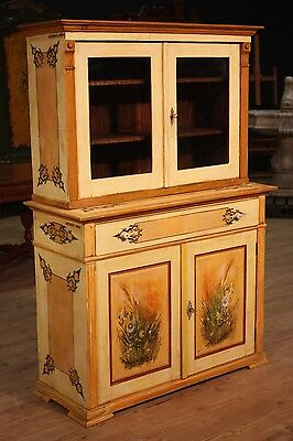 Cupboard double body showcase wooden painting furniture antique style 900