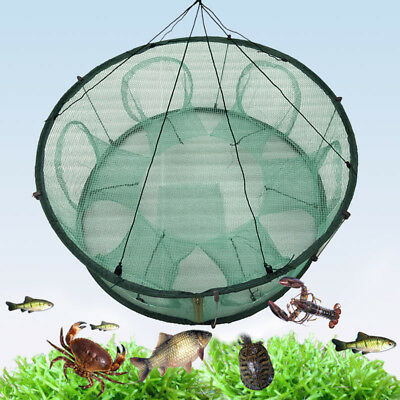 Round Fishing Trap Net Mesh Crab Cage Crayfish Lobster Automatic Open Foldable