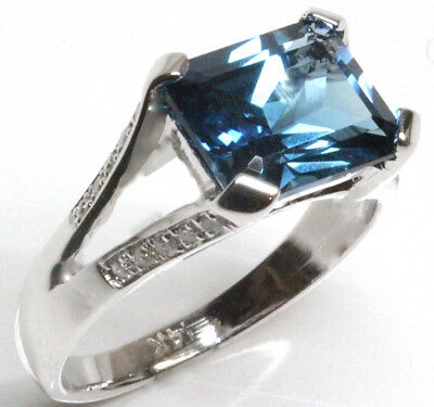 3.89 ct tw Natural Emerald Cut Blue Topaz Diamond 14k White Gold Cocktail Ring