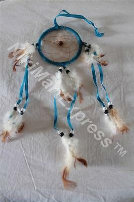 """Blue Dream Catcher w feathers wall hanging decoration ornament-16"""""""