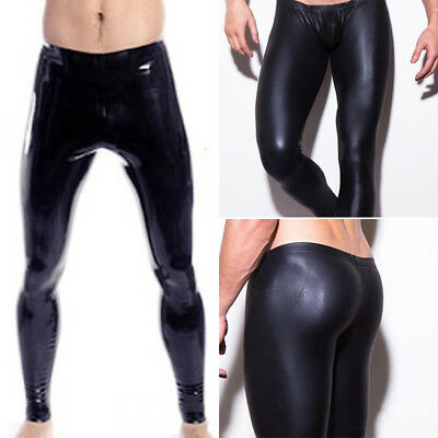 New Mens Shiny PU Leather Gym Stretch Leggings Wet Look Skinny Trousers Clubwear