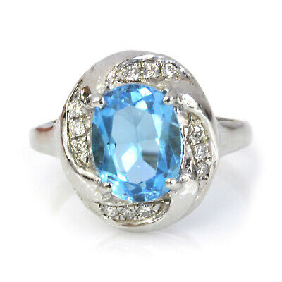 2.54 ct tw Natural Blue Topaz & Diamond 14k Solid White Gold Halo Cocktail Ring