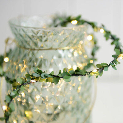 2/3/5/10M Waterproof LED Copper Wire Green Leaf String Light Wedding Decor