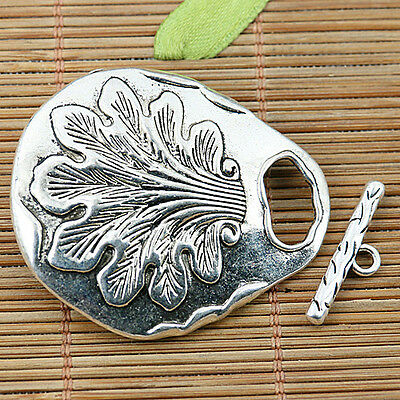 1sets Tibetan silver plated grass pattern oval toggle clasps EF2003
