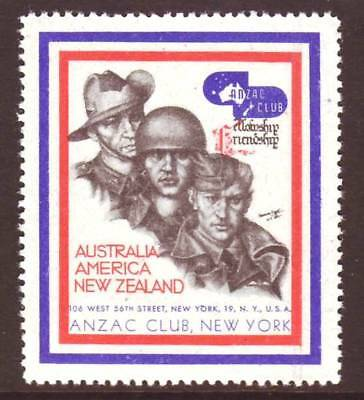 USA - CIRCA 1940s  ANZAC CLUB NEW YORK - WW2 CINDERELLA POSTER STAMP - MNH