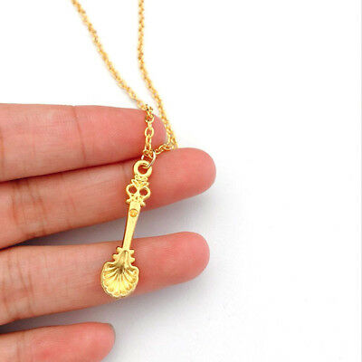 Vintage Alice Inspired Mini Gold Tea Spoon Snuff Necklace Wedding Engagement 8C