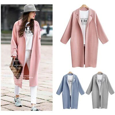 Solid Color Long Section Turn-collar Cocoon Type Wind Coat Plus Size for WomenFE