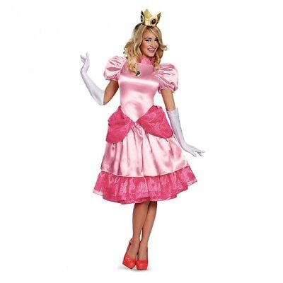 Disguise Super Mario Princess Color Pesca Lusso Donne Adulte Costume  Halloween b351fb0b6b1