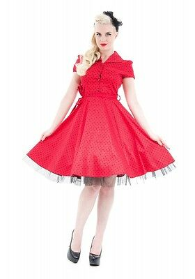 wholesale dealer 6e90f 0a9fc H&R LONDON A Pois Swing 15.2mS Pinup Punk Rockabilly Rosso Vintage Vestito  da