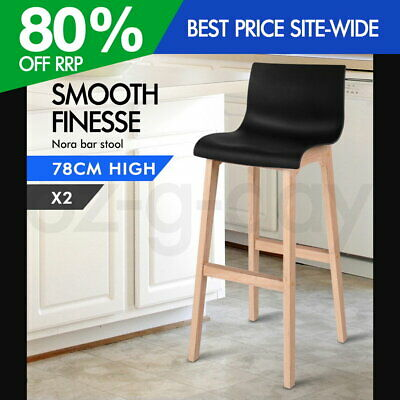 2x Nora Bar Stools Beech Wood Wooden Barstool Dining Chairs Kitchen Timber Black