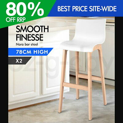 2x Nora Bar Stools Beech Wood Wooden Barstool Dining Chairs Kitchen Timber White