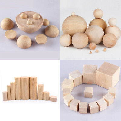 DIY Craft Hardwood Natural Wooden Round Half Balls Cylinder Square Cubes Blocks