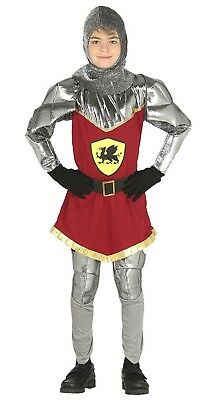 Boys Dragon Slayer Historical Knight Medieval Fancy Dress Costume Outfit 5-12yrs