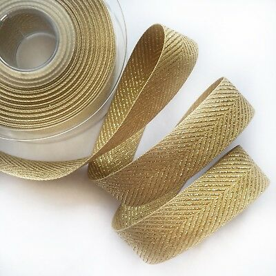 Rustic Craft Ribbon Woven Berisfords Gold Metallic Glitter Chevron Zig Zag 1M