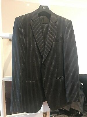 Black Mens Stripy suit jacket and trousers