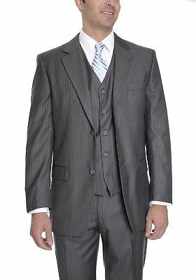 Imani Uomo Classic Fit Gray Pinstriped Two Button Three Piece Suit