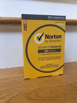 Norton Security Premium 2019 - 10 Devices - Newest Full Retail (Box, Key Card)