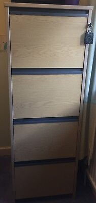 4 drawer beech-effect filing cabinet with foolscap suspension files