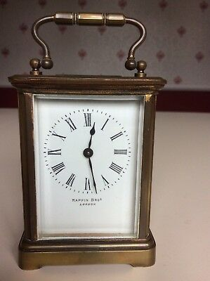 Vintage Brass MAPPIN Brothers Carriage Clock with key, timepiece only