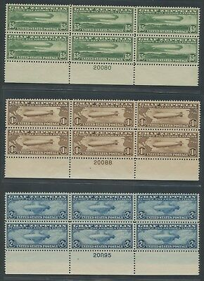 #C13-C15 Zeppelin Plate Blocks Set Vf -Xf Og Nh #C14 W/ Cert Cv $16,050 Wlm6731