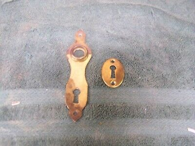 Vintage Solid Brass Door Knob Back Plate & Skeleton Key Hole Escutcheons  D-5