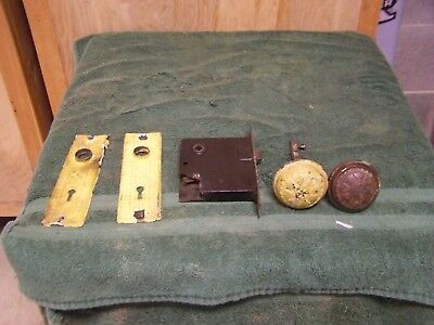 Vintage Antique Norwalk Lock Co. Mortise Lock-Backplates-Knobs-Chippy Paint  #3