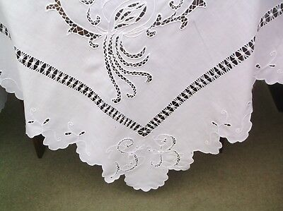Vintage Cotton Initialed Embroidered (Peacocks ?) Table Cloth - Fault