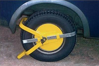 """Round Full face wheel lock steel security car trailer small  8"""" - 10"""" clamp tyre"""