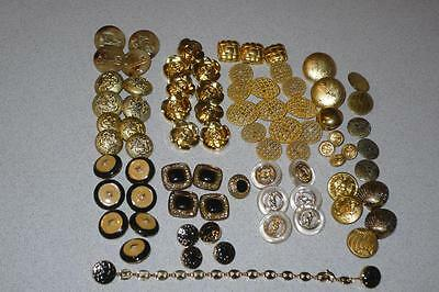 Vintage large lot Sewing Buttons gold lucite enamel plastic Metal replacement