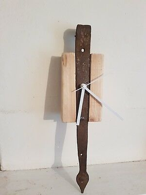industrial gift clock wood cast iron wall rustic shabby chic vintage time piece