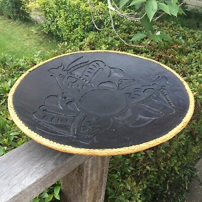 Large Carved Wooden African Fruit Nut Bowl Centrepiece Dark Wood Dish