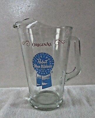 """PABST BLUE RIBBON """"Original"""" Glass Advertising Beer Pitcher"""
