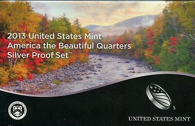 2013-S United States America the Beautiful Quarters Silver Proof Coin Set GA842