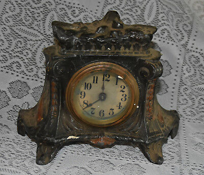 Antique Aiguilles French France Mantle Clock Cast Iron Non Working As-Is