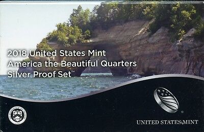 2018-S United States America the Beautiful Quarters Silver Proof Coin Set GA850