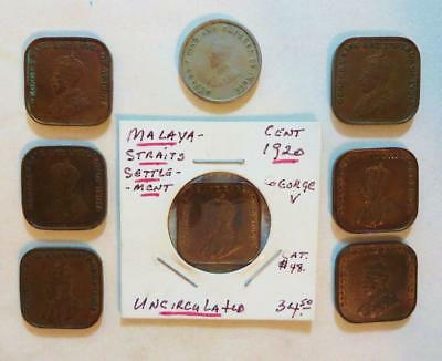 Malaysia - Straits Settlements, 8 Older Better Grade Coins 1919-1920, Free Ship