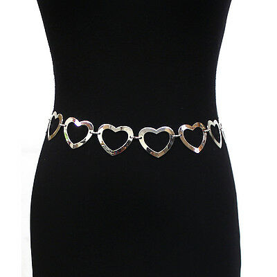 Women Fashion Full Metal Bling Chain Link Hip Heart Buckle Waist Belt S M L XL