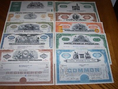 Lot of 10 Different Stock Certificates. TL9