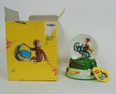 """NIB Curious George Bicycle Built For Two 6"""" Collectible Snow Globe Snowglobe"""