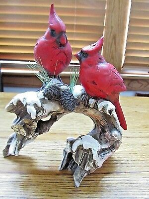 Cardinals On A Snowy Tree Branch Figurine Decor-New!