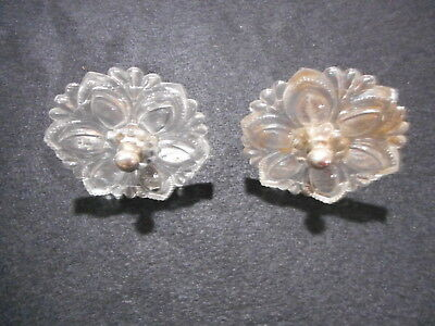 Pair of Antique Vintage Glass Curtain Tie Backs Hardware Victorian Federal Nice