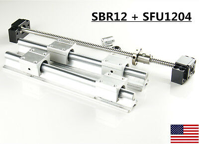 2X SBR12 Linear Rail Set + 1X SFU1204 Ballscrew kit 300-1500mm For CNC DIY