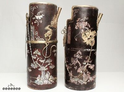 Chinese Mother of Pearl Inlaid Pipes