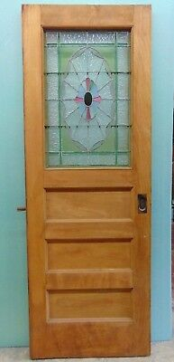 """ANTIQUE AMERICAN STAINED GLASS DOOR-30 3/16"""" x 84 5/16"""" ARCHITECTURAL SALVAGE"""