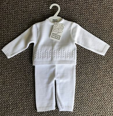 Baby boys white knitted traditonal suit christening winter 3-6-9-12 months gift